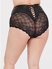 Black Faux Pleather & Lace Lace-Up High Waist Panty , RICH BLACK, hi-res
