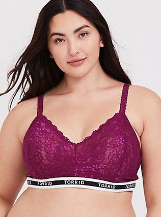 Plus Size Torrid Logo Berry Purple Lace Bralette, NAVARRA, hi-res