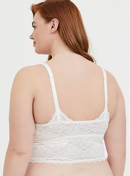 Plus Size White Lace Bralette, CLOUD DANCER, alternate