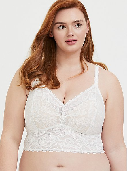 Plus Size White Lace Bralette, CLOUD DANCER, hi-res