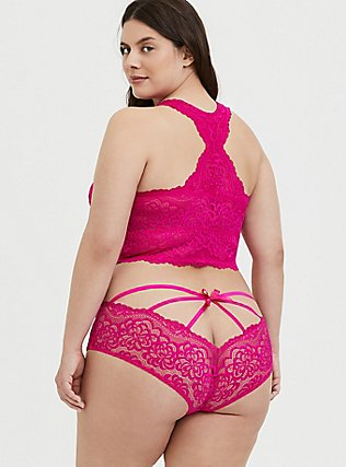 Neon Pink Lace Racerback Bralette, SUPERSONIC, alternate