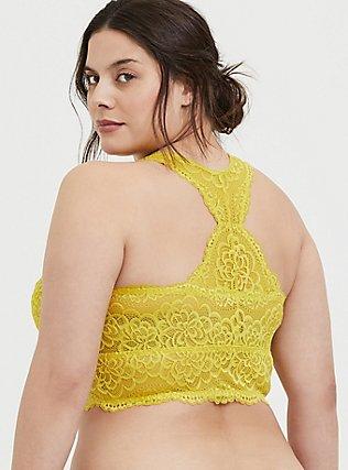 Lemon Yellow Lace Racerback Bralette, JADE CITRUS, alternate