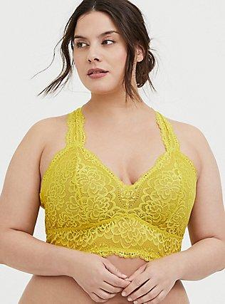 Lemon Yellow Lace Racerback Bralette, JADE CITRUS, hi-res