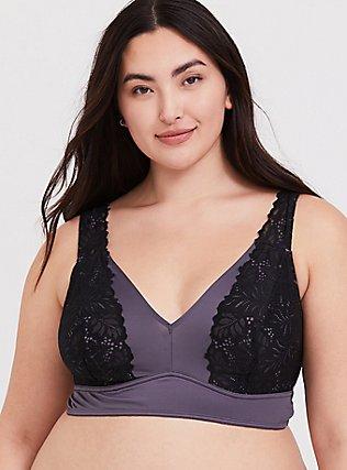 Plus Size Slate Grey Microfiber & Black Lace Bralette, STORMY PURPLE, hi-res