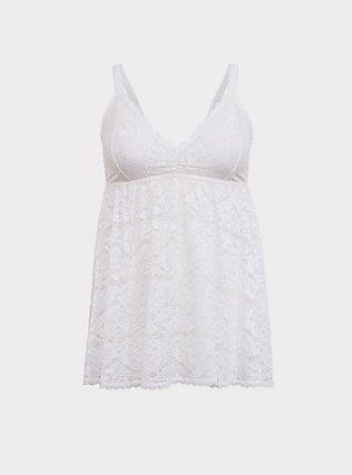 White Lace Babydoll, CLOUD DANCER, flat