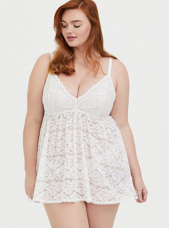 White Lace Babydoll, CLOUD DANCER, hi-res