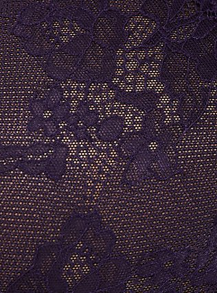Dark Purple Lace & Black Mesh Strappy Babydoll, DEEPEST PLUM PURPLE, alternate