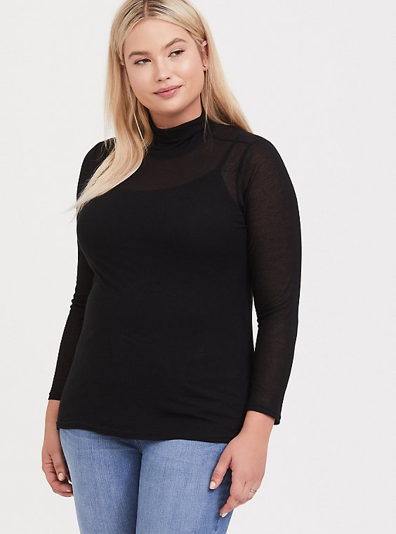 Black Turtleneck Long Sleeve Tee, , hi-res