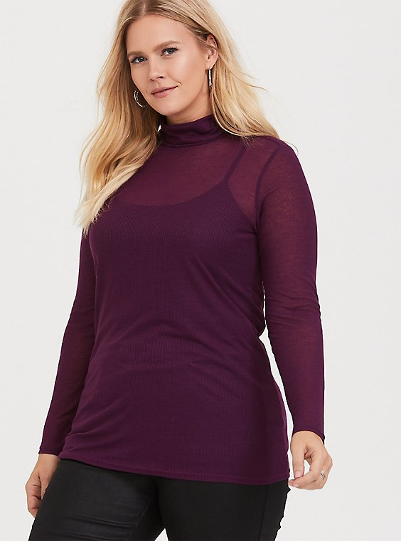 Burgundy Purple Turtleneck Long Sleeve Tee, , hi-res