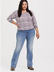 Grey & Pink Plaid Raglan Sweatshirt, PLAID - GREY, alternate