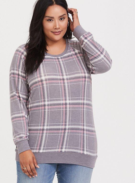 Grey & Pink Plaid Raglan Sweatshirt, , hi-res