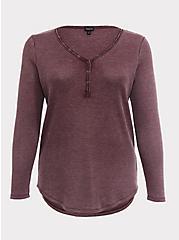 Burgundy Purple Washed Waffle Knit Long Sleeve Henley Tee, HIGHLAND THISTLE, hi-res
