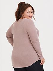Plus Size Taupe Waffle Knit Snap Henley Long Sleeve Tee, WARMED STONE, alternate