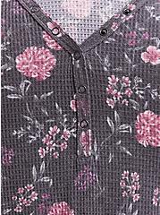 Dark Grey & Floral Waffle Knit Snap Henley Long Sleeve Tee , FLORAL - PINK, alternate