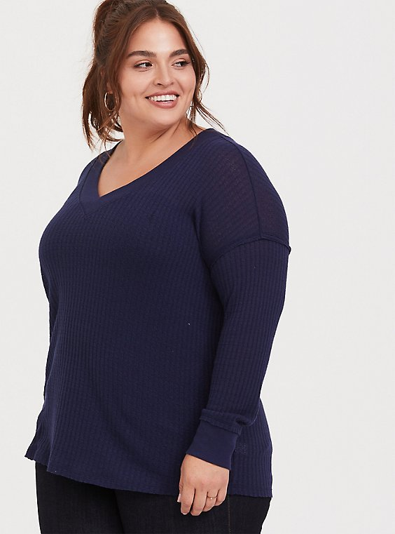 Plus Size Navy Waffle Knit V-Neck Long Sleeve Tee, , hi-res