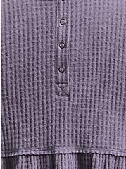 Grey Brushed Henley Babydoll Pullover, DARK PEARL GREY, alternate