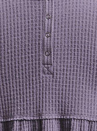Plus Size Grey Brushed Henley Babydoll Pullover, DARK PEARL GREY, alternate