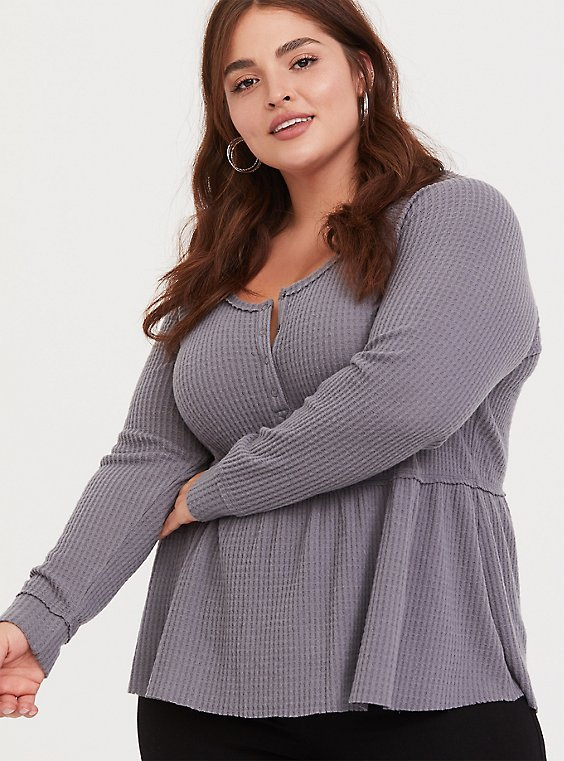 Grey Brushed Henley Babydoll Pullover, , hi-res