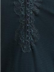 Dark Green Waffle Knit Lace Trim Henley Long Sleeve Tee, GREEN GABLES, alternate