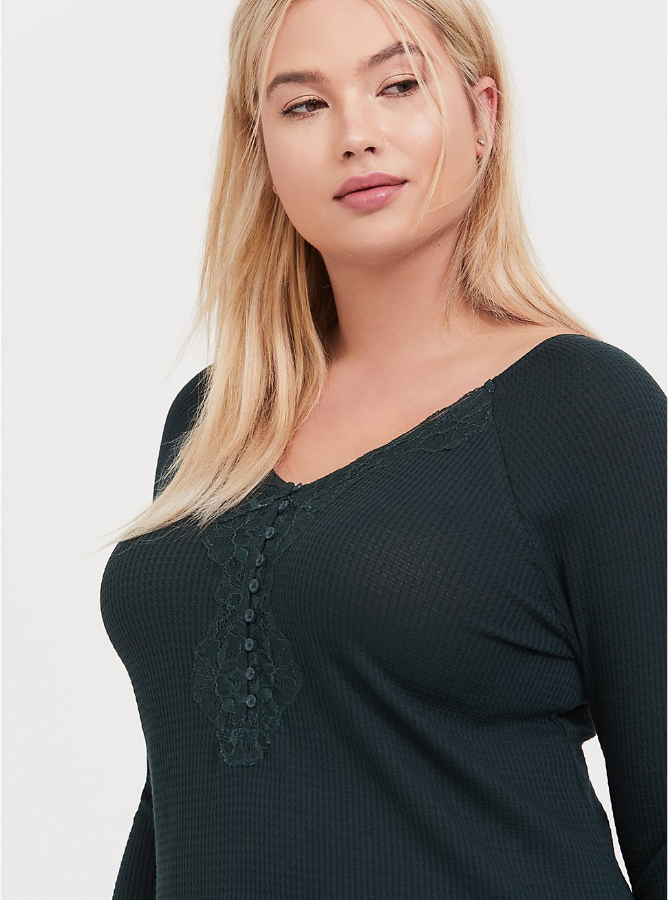 Plus Size Dark Green Waffle Knit Lace Trim Henley Long Sleeve Tee, GREEN GABLES, hi-res