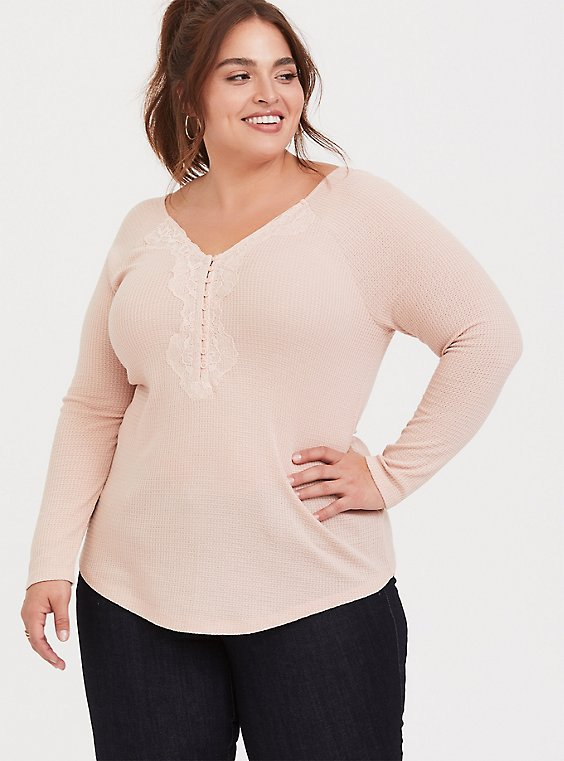 Plus Size Blush Pink Waffle-Knit Lace Trim Long Sleeve Tee, , hi-res