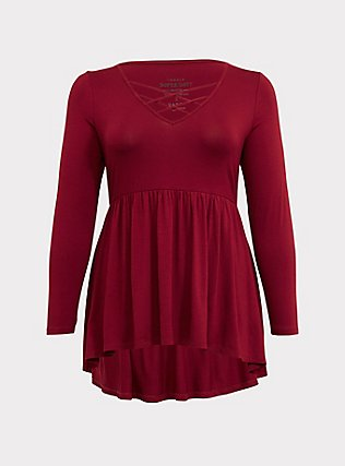 Plus Size Super Soft Dark Red Lattice Babydoll Tee, BIKING RED, flat