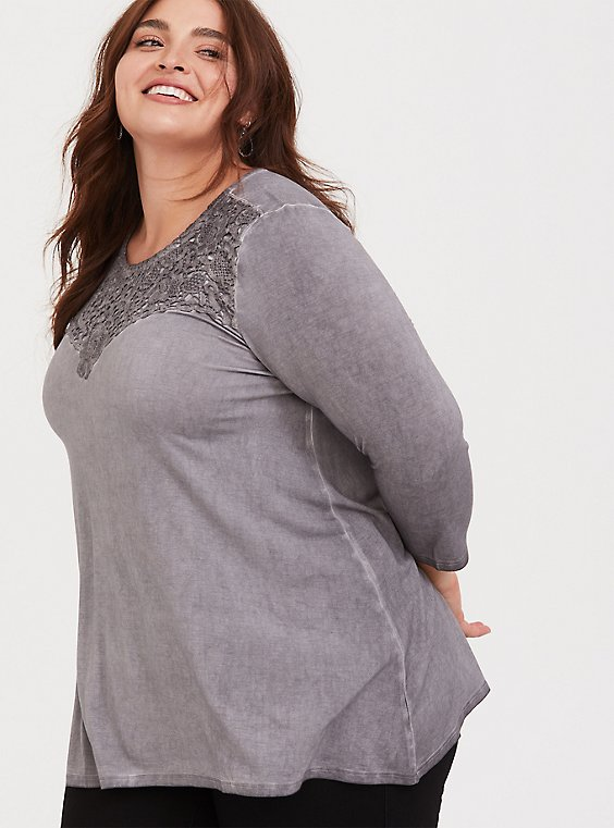 Super Soft Grey Crochet Sharkbite Top, , hi-res