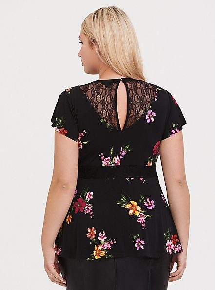 Black Floral Studio Knit Lace Yoke Peplum Top, , alternate