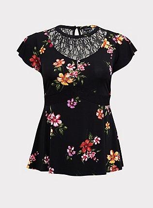 Black Floral Studio Knit Lace Yoke Peplum Top, , flat