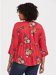 Dusty Red Floral Babydoll Blouse, MULTI, alternate