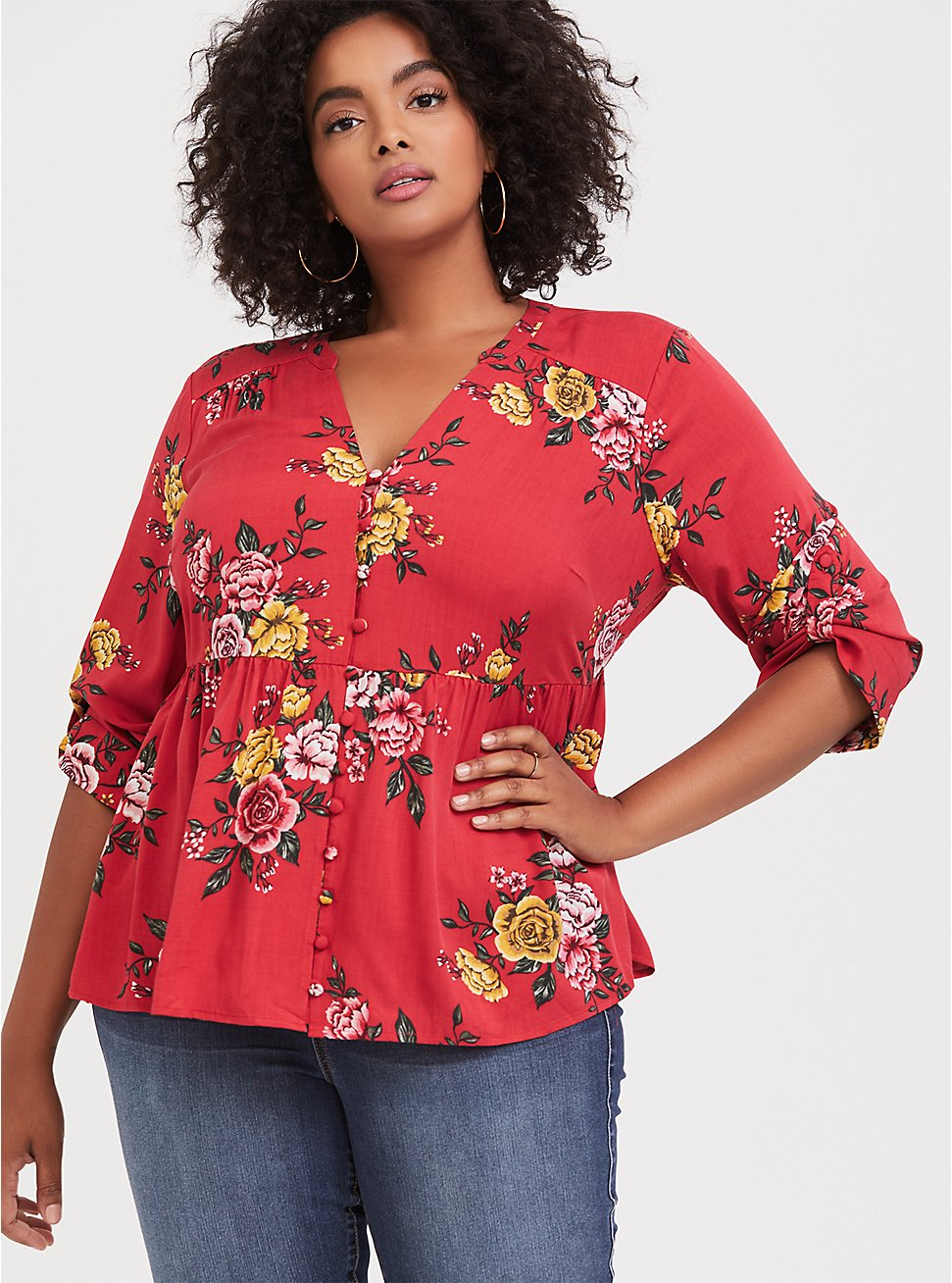 Dusty Red Floral Babydoll Blouse, MULTI, hi-res