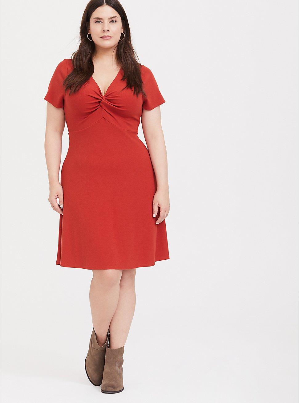 Red Terracotta Ribbed Twist Front Skater Dress, KETCHUP, hi-res