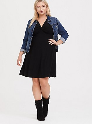 Plus Size Black Rib Twist Front Skater Dress, DEEP BLACK, alternate