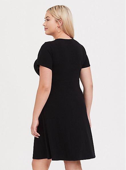 Black Rib Twist Front Skater Dress, DEEP BLACK, alternate