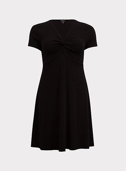 Black Rib Twist Front Skater Dress, DEEP BLACK, hi-res