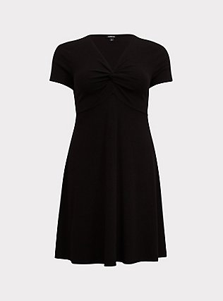 Plus Size Black Rib Twist Front Skater Dress, DEEP BLACK, flat