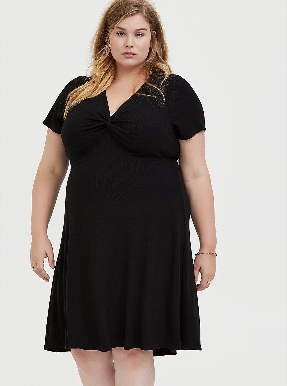 Black Rib Twist Front Skater Dress, , fitModel1-hires
