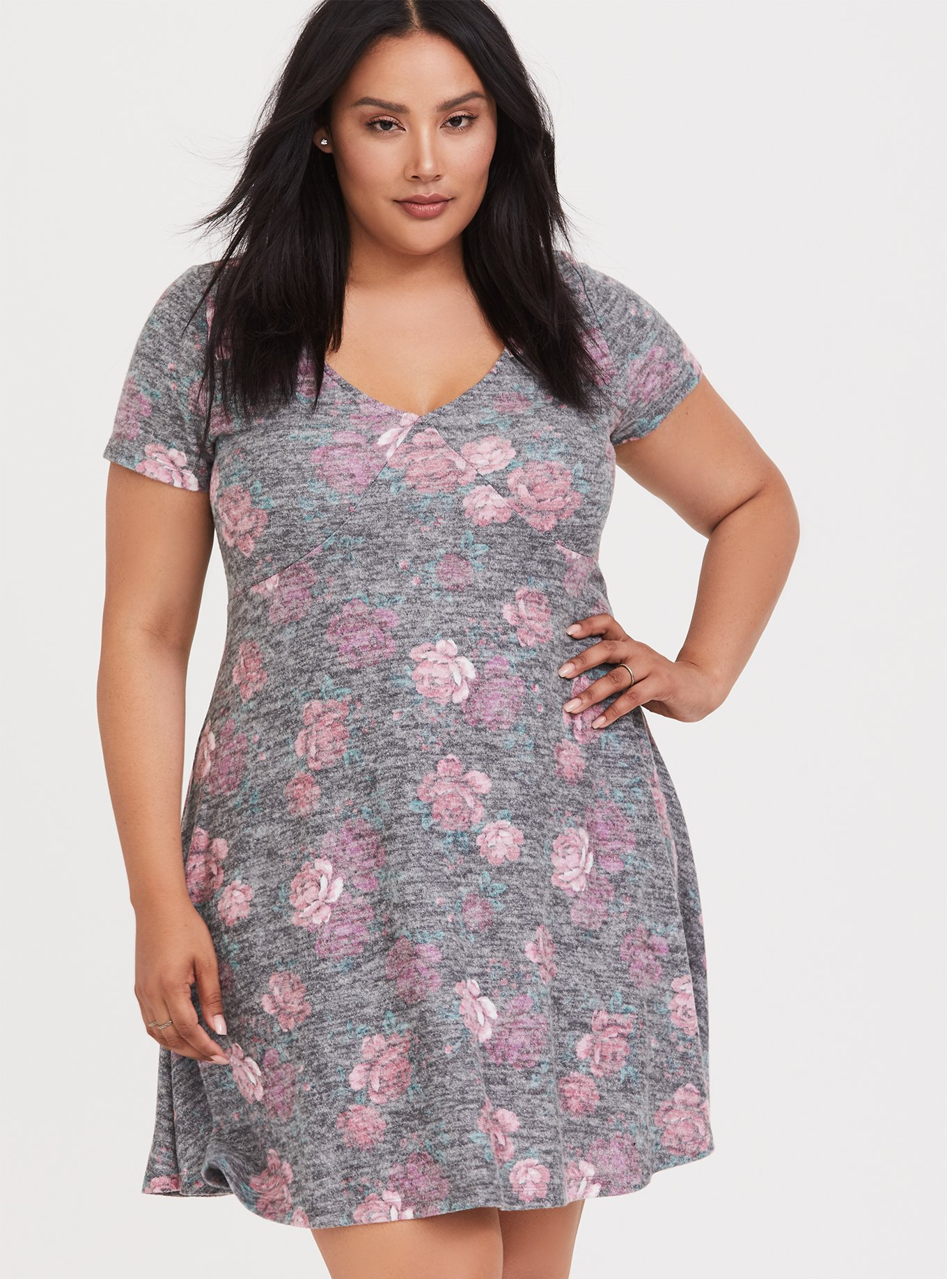 Super Soft Plush Black Floral Skater Dress by Torrid