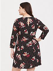 Black Floral Challis Shift Dress, LEOPARD-BLACK, alternate