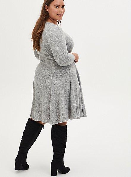 Super Soft Plush Light Grey Sweetheart Fluted Dress, LIGHT HEATHER GREY, alternate