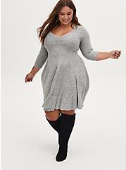 Plus Size Super Soft Plush Light Grey Sweetheart Fluted Dress, LIGHT HEATHER GREY, hi-res