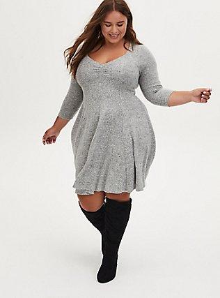 Super Soft Plush Light Grey Sweetheart Fluted Dress, LIGHT HEATHER GREY, hi-res