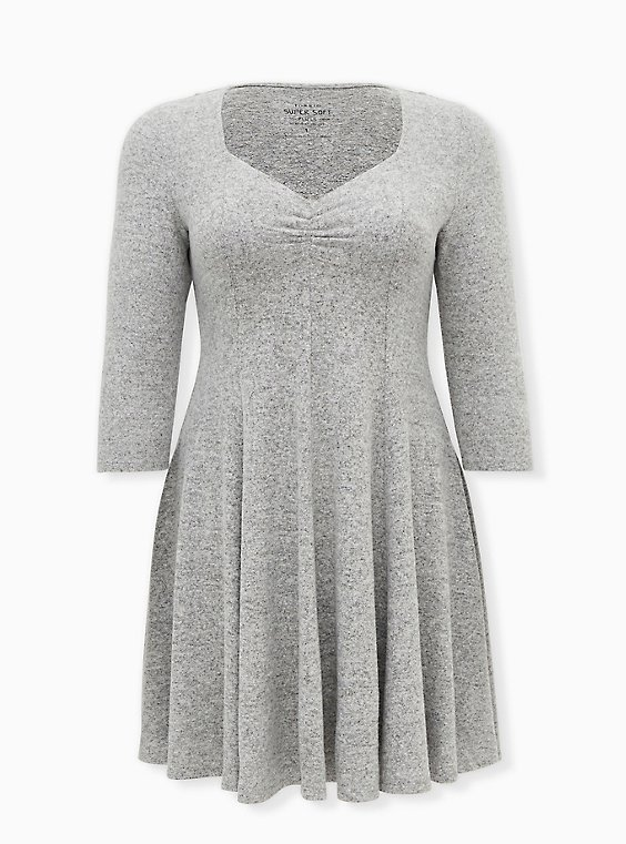 Super Soft Plush Light Grey Sweetheart Fluted Dress, LIGHT HEATHER GREY, ls