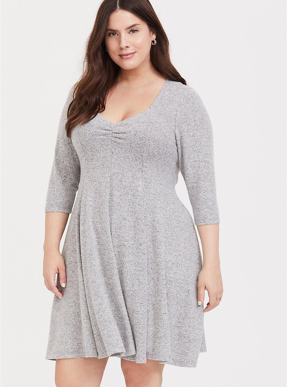 Super Soft Plush Light Grey Sweetheart Fluted Dress, , fitModel1-hires
