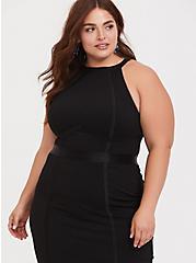 Plus Size Black Jersey Halter Bodycon Dress, DEEP BLACK, alternate