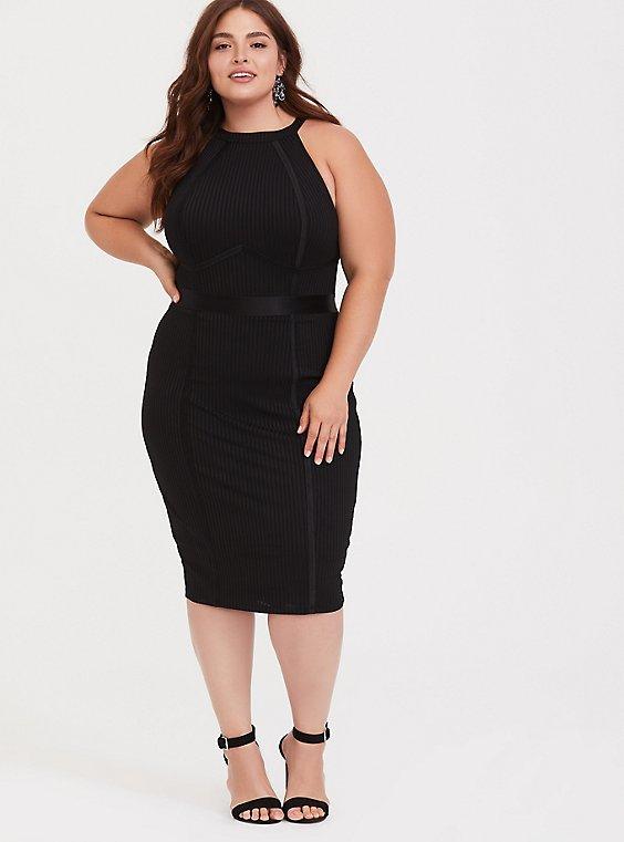 Black Jersey Halter Bodycon Midi Dress, , hi-res