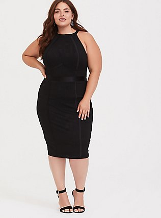 Black Jersey Halter Bodycon Midi Dress, DEEP BLACK, hi-res