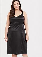 Black Satin A-line Slip Dress, DEEP BLACK, alternate