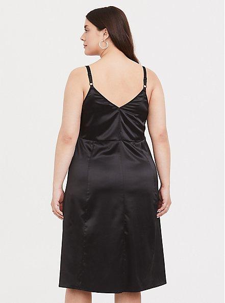 Black Satin A-line Slip Dress, DEEP BLACK, alternate