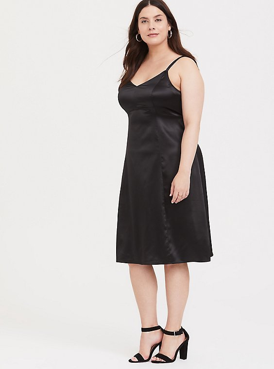 Plus Size Black Satin A-line Slip Dress, , hi-res
